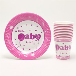 Wholesale Birthday Girl Cup - Wholesale-kids baby girls theme happy 1st birthday set party decorations paper plates +paper cups party supplies favors set 60pcs
