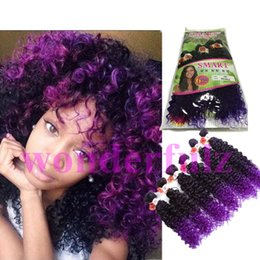 Wholesale Deep Wave Synthetic Weave - Kinky curly deep wave Peruvian Hair curly 6 Bundles Ombre purple Hair Weave africa synthetic brown color hair extension fast free shipping