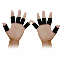 Wholesale Thumb Wrist - 10 PCS Set Sports Elastic Finger Sleeves Protector Finger Splint Support Brace Basketball Thumb Bands Finger Splint Guard JKV0012