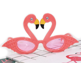 Wholesale Pink Flamingo Party - Flamingo Cocktail Hawaiian Novelty Sunglasses Fancy Dress Tropical Beach Glasses Wedding Birthday Hen Party Favor Pink Glitter