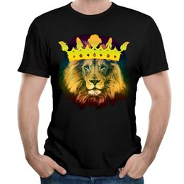 Wholesale Bright Print Fabric - Bright yellow T shirts for boys teen short tees for summer soft pure cotton fabric sport shirt 3XL O-neck I'm the King