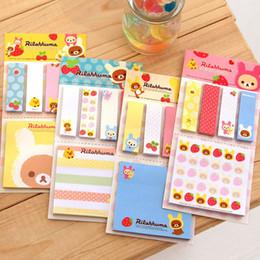 Wholesale Rilakkuma Notepad - Wholesale- Cute Kawarii Cartoon Rilakkuma Memo Notepad Note Book Memo Pad Sticky Notes Memo Set Gift Stationery