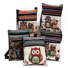 Wholesale Cartoon Owl Handbag - cute Cartoon Owl Print Messenger Bags Canvas Female Shoulder Bags Double Zipper Women Mini Flap Shoulder Handbags for kids