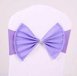 2019 legame di arco acrilico Wedding Chair Sash Shiny Strass Tie Bow Coprisedile elastico acrilico Coprispalle per feste sconti legame di arco acrilico
