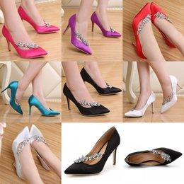 Wholesale blue wedding shoes for bride - Silk Satin High Heels Wedding Dresses for Bride 2017 7-Colors 9cm Fuchsia Black White Silver Purple Blue Red Homecoming Party Evening Shoes