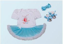 Wholesale Girls Clothes Size 12 Months - Baby Girls Rabbit Romper Set Shorts Headband +Shoes Kids Clothing Set Hot Sale Babys Clothing Size 0-2Y INS 2017 New Summer