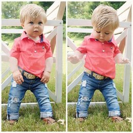 Wholesale Collared Shirt For Baby - baby boys fashion Polo shirt+jeans clothing set summer short sleeves suit solid color fashion suits for kids boy clothes cheap wholesale