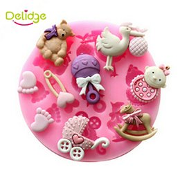 Wholesale Baby Feet Mold - Delidge 1 pc 3D Baby Bear Foot Birds Shape Cake Decoration Mold Silicone Fondant Soap Mold Chocolate Babies For DIY Bakeware