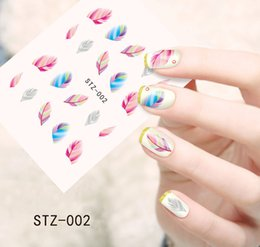 Wholesale Feather Nail Decals - Wholesale- 1 sheet Colorful Beauty Feather Nail Decals Salon Foil Wraps Water Transfer Nail Art Beauty Decoration Sticker Tools #STZ-002