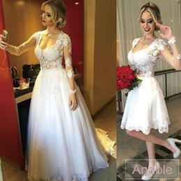 Wholesale Two Piece Detachable Wedding Dresses - Vestido De Novia 2016 Two Pieces Beach Wedding Dress With Detachable Train 2017 Long Sleeve Lace and Pearls Wedding Dresses Bridal Gowns
