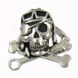 Wholesale Spanner Jewelry - Stainless steel punk vintage mens or womens jewelry SPANNER WRENCH bone single eye GHOST SKULL biker ring GIFT FOR BROTHERS SISTERS 09w44
