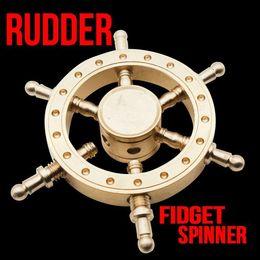Wholesale Steering Spinners - 2017 Boat Rudder Hand Spinner Edc Decompression Toy Helmsman Fidget Spinner Steering Wheel Design Fidget Toy Classic Style