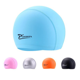 Wholesale Ear Protector Hats - Wholesale- Adult Swimming caps Unisex PU Waterproof Swimming hat long hair swim hats Ear Protector Flexible colorful Swimming Cap