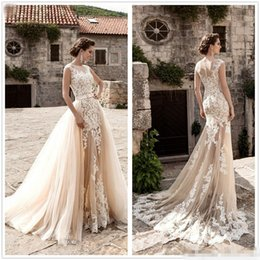Wholesale New Trumpet Models - New Vintage Champagne Lace Mermaid Wedding Dresses 2017 Sheer Neck Cap Sleeve Tulle Applique A-Line Court Train Wedding Gown With Over Skirt