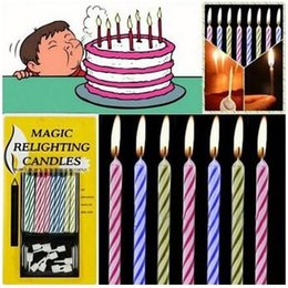Wholesale Magic Party Cake - Long Thin Cake Candles Party Magic Relighting Candle For A Birthday Party Easter Holidays Multi Color Creative Ideas 48pcs lot CCA6399 30lot
