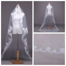Wholesale Pretty Bridal Veils - Pretty Girl One Layer 3m Bridal Veil 3D Lace White Sequined Floral Adorned Wedding Veil Long Cathedral Middle East Soft Lace