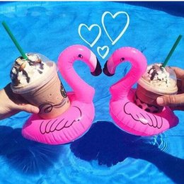 Wholesale Cell Phone Float - Mini Flamingo Floating Inflatable Drink Can Cell Phone Holder Bottle Floats Lovely Pink Float Bath Drink Flamingo Float Toys