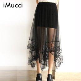 Wholesale Net Beach Skirt - iMucci Summer Women Sexy Lace Skirts Fashion Solid Casual Mesh Tulle skirt Net Yarn Dovetail Jupe Tulle Beach Skirt
