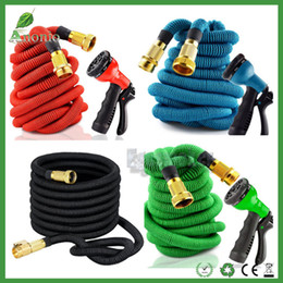 Wholesale Car Washing Pipe - 25FT 50FT 75FT 100FT Expandable Garden Watering Hose Flexible Pipe With Spray Nozzle Copper Connector Washing Car Pet Bath Hoses EU US