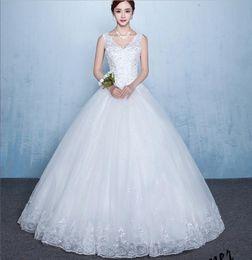 Wholesale Cheap White Dress Xxl - Cheap Ball Gown Wedding Dress V Neck White Lace Appliques Floor Length Bridal Gowns Fast Shipping Size S M L XL XXL XXXL