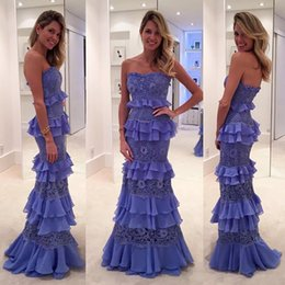 Wholesale Sexy Strapless Purple Mermaid Dress - 2017 New Elegant Lavender Chiffon Mermaid Evening Dresses Strapless Lace Tiered Formal Party Occasion Wear Floor Length Prom Dresses