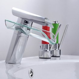 Wholesale F Inches - Contemporary Centerset Waterfall with Ceramic Valve Single Handle One Hole for Nickel Brushed Toughened Glass Bathroom Sink Faucet Chrome F