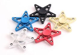 Wholesale Pentagram Metal - Five Pointed Star Aluminum Fidget Spinner Pentagram Hand Spinners Hollow Out Metal Spinning Top Keep Hands Busy Finger Toys New Arrival