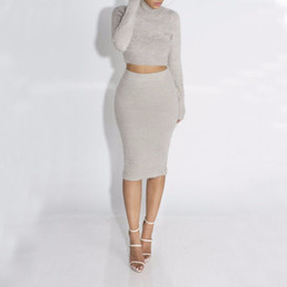 Wholesale Long Sleeve Knitting Skirt Dress - Autumn 2pcs Women Fleece Suit Set Long Sleeve Crop Top Pencil midi Skirt solid Bodycon Bandage Dress Sweater Tracksuit