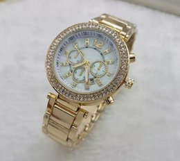 Wholesale Imitation Designer Watches - Luxury Famous Designer Brand Hot Women rhinestone Watches Dress Michael ladies watch Imitation Conch Dial Ma'am Gold Silver Watches