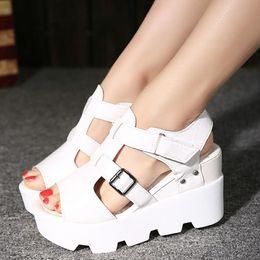 Wholesale Open Toe Platforms - 2017 Summer Sandals Shoes Women High Heel Casual Shoes footwear flip flops Open Toe Platform Gladiator Sandals Women Shoes Y48W