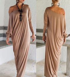 Wholesale One Size Ladies Clothing - 2017 Summer Women Clothes Sexy Fashion Dress Long Sleeve Plain Split Shift Maxi Dress Irregular Plus Size Oversize Loose Ladies Dresses