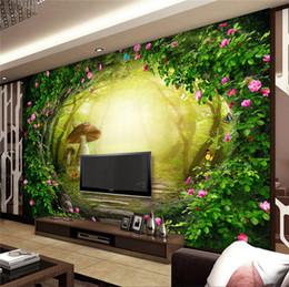 Wholesale Japan Fabric Roll - Flower Vine Mushroom House Forest Living Room Background Decor Large Custom Wall Mural Non-woven Fabric Wallpaper For Walls Roll