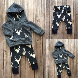 Wholesale Girls Warm Pants - Ins Baby Boys Girls Clothes Set Warm Outfits Deer Tops Hoodie Top + Pant Leggings Cute Animals Kids Baby Clothes