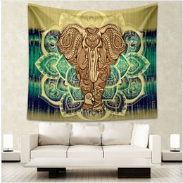 Wholesale Decoration Window Curtain - Curtain Home Textiles Indian style printed home tapestry wall hanging wall decoration beach towel elephant totem beach carpet 1104