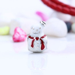 Wholesale Real Snowman - New Fit Pandora Bracelet Real 925 Sterling Silver Not Plated Christmas Snowman Charm European Charms Beads Fit Pandora Bracelet DIY Jewelry