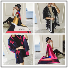 Wholesale Wholesale Women Cashmere Sweaters - Women's Loose Street Snap Knitted Cardigan Plaid Cape Poncho Shawl sweaters Christmas Gift Cashmere Pashmina Scarf