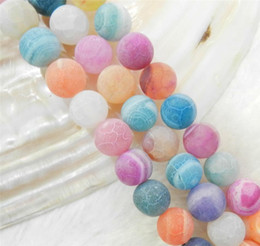 """Wholesale Dream Fire Dragon Veins Agate - Wholesale Natural 6-10MM Frosted Dream Fire Dragon Veins Agate Stone Round Loose Beads Strand 15"""""""