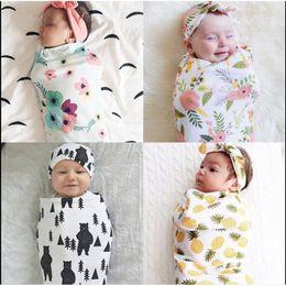 Wholesale Boys Bath Robes - Baby Swaddle Blanket with Headband Kids Muslin Swaddling Fashion Floral Pineapple Print Newborn Bath Robe for Boys Girls