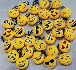 Wholesale Plush Dolls Car Wedding - Lovely Emoji Smiley keychains Wedding gift toy Emotion Yellow QQ Expression Stuffed Plush doll toy for bag pendant Christmas gift