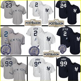 Wholesale Green New York Jersey - Men's 99AaronJudge 2 Derek Jeter 23 Don Mattingly 24 Gary Sanchez Jersey New York Yankees 2017 Postseason Patch stitched Jerseys