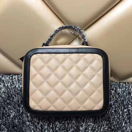 Wholesale Shoulder Sling Leather - Diamond lattice quilted caviar bag sling box shaped handbags women chain shoulder bags famous brand leather crossbody bags small purse