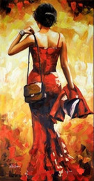 Wholesale Oil Painting Bags - Framed LADY IN RED with a bag,Pure Handpainted Impressionism Portrait Art Oil Painting On canvas,Free Shipping,Multi sizes Available Ab037