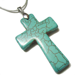 Wholesale Wholesale Craft Cross Charms - 10pcs lot Turquoise Cross Pendant Charms For DIY Craft Fashion Jewelry Gift Free Shipping 45mm TC2