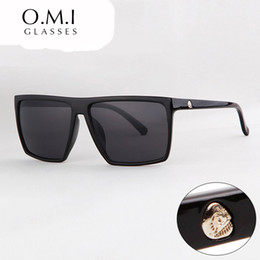 Argentina 2017 Gafas de Sol Cuadradas SKULL Logo Unisex Lente de Resina Marco de Plástico Negro Gafas de Sol Masculino oculos Diseñador de la Marca OM320 cheap plastic lenses glasses Suministro