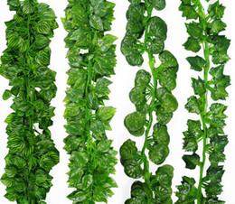 decoração do pátio Desconto 200 CM Videira Artificial Folhas Verdes Flor Vines Planta Falso Ivy Simulação De Plástico Decoração Do Pátio G487