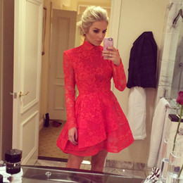 Wholesale Red Lace Chinese Dress - 2016 Winter Red Lace Short Prom Dresses High Neck Long Sleeve Chinese Style Mini Dress Evening Wear Custom Made Homecoming Dresses
