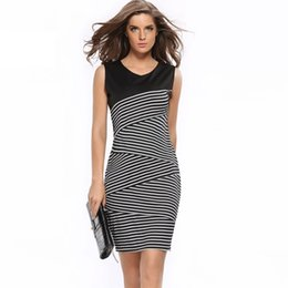 Wholesale Elegant Work Wear - 2017 Summer Style Women Vestidos High Quality Striped Dress Pencil Dresses Fashion Patchwork Dress For Ladies Elegant Office Dresses DR008