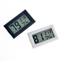 Wholesale Mini Digital Lcd Thermometer White - new black white FY-11 Mini Digital LCD Environment Thermometer Hygrometer Humidity Temperature Meter In room refrigerator icebox