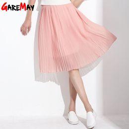 Wholesale Chiffon Khaki Skirt - GAREMAY Women Long Chiffon Skirts Summer Pleated Black White Skirt School Faldas Largas Maxi Saia Bohemian Skirt For Women 3019