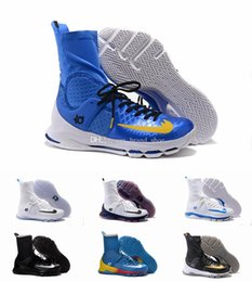 Wholesale Kd High Top Shoes - 2017 Kevin Durant KD 8 Elite EP Home Basketball Shoes Wolf Grey White Blue 835615-144 Men Sneakers High Top KD8 Sports Shoes 7-12